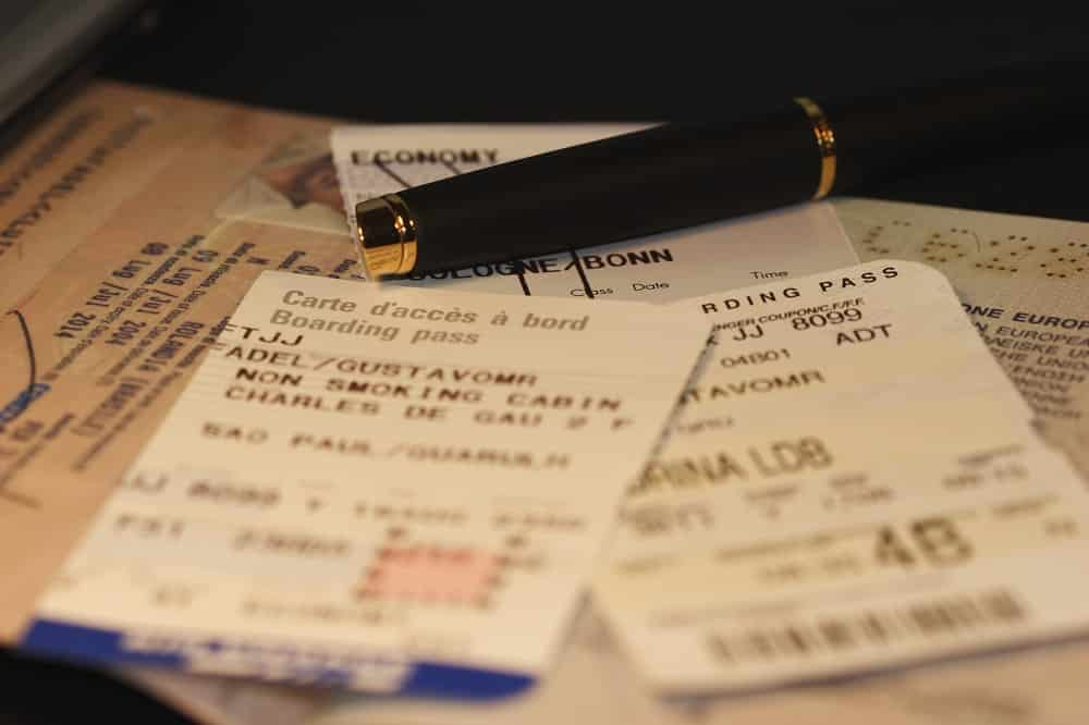 Passport, air ticket and boarding pass