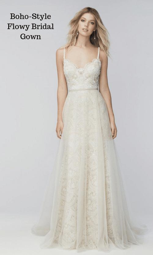 Boho-Style Flowy Bridal Gown